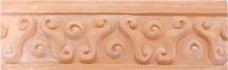 hand crafted bull nose designer cermic tile with a high relief design and a one color glaze