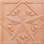 handmade ceramic terra cotta tile with a high relief design and a clear or matte glaze