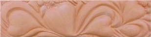 handmade terra cotta trim piece ceramic tile with a high relief design and a clear gloss or matte glaze
